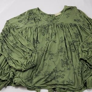 Alter'd State Green Boho Chic Flowy Blouse Top